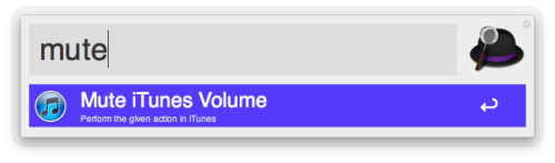 "Mute and Unmute in iTunes Mini Player You know the scenario. You have your music playing loud when all of a sudden the phone rings and you scramble to pause or close everything to get the silence you so require. Next time this happens, try calling up the main Alfred window and type ""mute"". Magic. Want more magic? Once you're finished with your call, simply type ""mute"" into Alfred again and your sound shall return!"