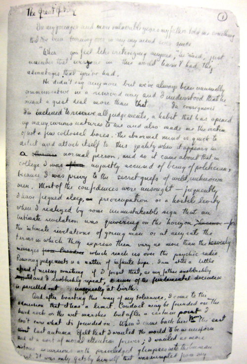 factoseintolerant:  First page of manuscript of The Great Gatsby