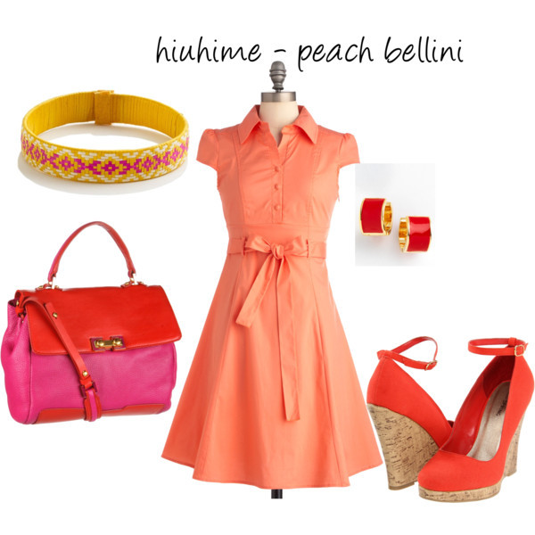 Peach Bellini by hiuhime featuring kate spade earrings