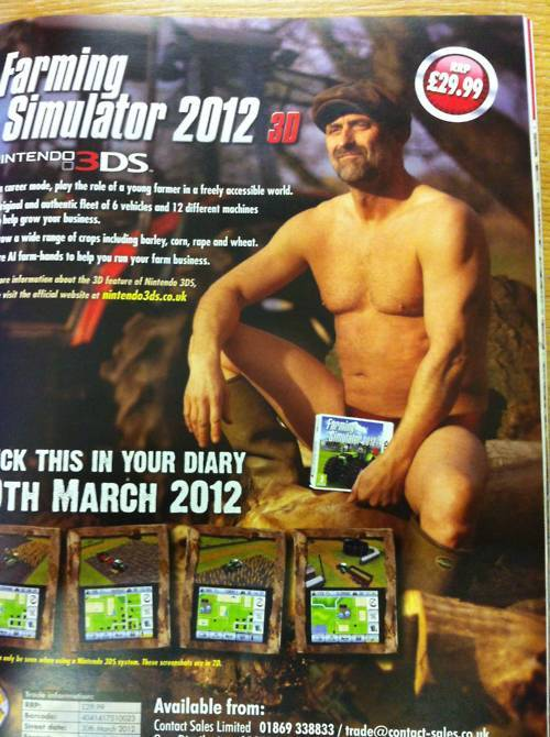 tinycartridge:  NSFW: If you didn't plan to import Farming Simulator 2012 3D before, surely this ad will convince you to. Buy: Nintendo 3DS (Flame Red, Pearl Pink, Black, & Blue) Find: Nintendo DS/3DS release dates, discounts, & more See also: More advertisements [Via Marching With Eyes Shut]