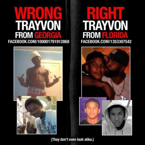 The conservatives have been trying to spread a picture of a Trayvon all day long that makes him appear like a bad young man, supposedly to mean that we shouldn't sympathize with him getting shot and killed.  The problem is, that is not the Trayvon Martin from Florida who was killed, it's a different Trayvon from Georgia, and doesn't even look like him.  Not surprised this lie came from the Breitbart camp. They have a long established legacy of distortions, taking things out of context, complete fabrications, and outright lies in their propaganda.  While they've retracted their claim, Michelle Malkin and thousands of other cons are continuing to deliberately spreading the picture. More on this here: http://www.streetwisepundit.com/wrong-trayvon-martin-photo-on-facebook.html