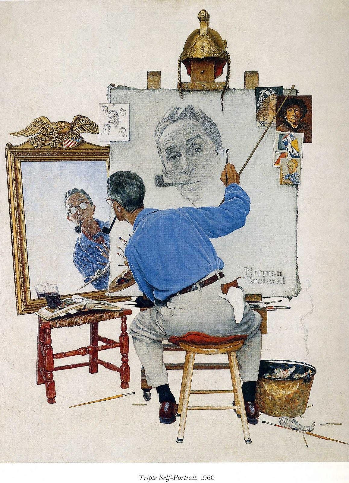 Triple Self-Portrait, 1960 by Norman Rockwell