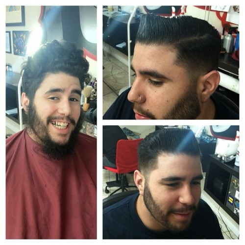 Before and after T-pot #pomp #miaminewtimes #barber #haircut #pompadour #miami  (Taken with Instagram at JunkYard Studios)