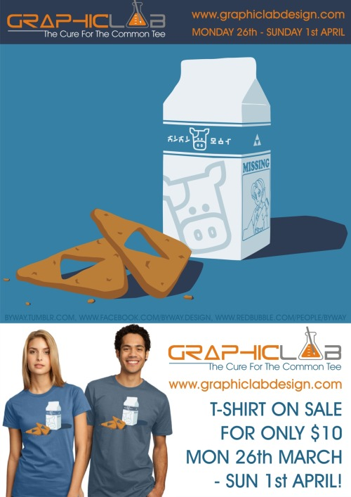 My Milk & Triforce Cookies T-shirt design is on sale at www.graphiclabdesign.com all this week until Sunday 1st April for only $10! You can also find some of my other works at www.facebook.com/byway.design and www.redbubble.com/people/byway and you can vote for my designs to be printed as well at www.qwertee.com/profile/view/441 and www.othertees.com/profile/Byway!