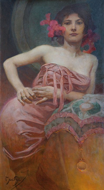 soyouthinkyoucansee:  Alphonse Mucha (1860-1939), Portrait of a Lady, n.d.
