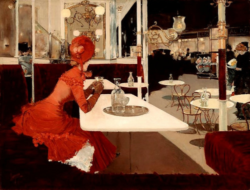 soyouthinkyoucansee:   The Cafe (1882)  Fernand Lungren (1859-1932)  Oh, for that red dress…