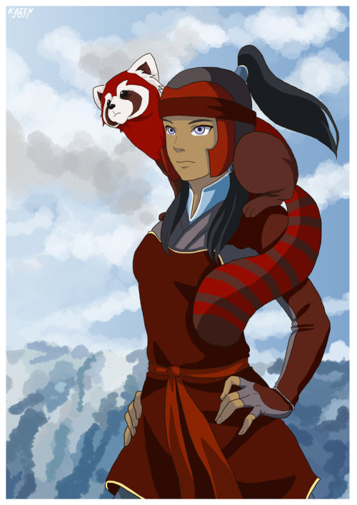 Korra and Paboo by *kami-kazen More Pabu. Look at that little guy.