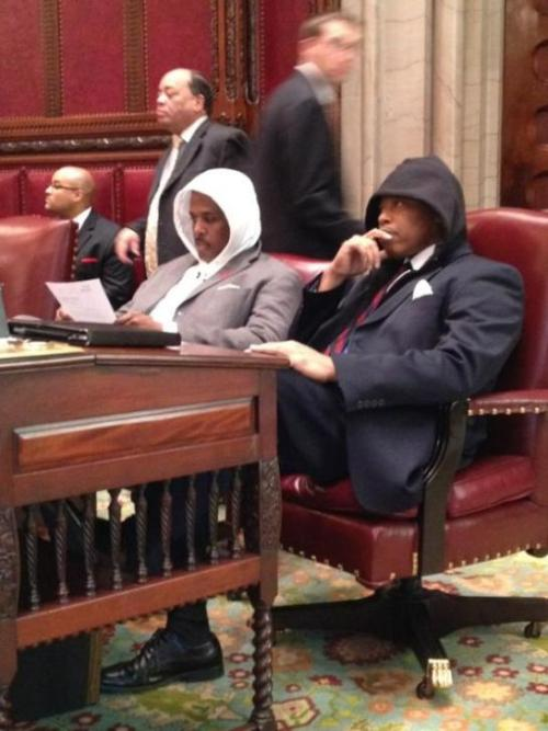 NYS Senator Eric Adams, other Senators and Assembly Members wore hoodies to the NYS Legislative Session.   (…because they are totally awesome badasses.) More from Senator Adams' blog:  The group wore the popular youth apparel to display their outrage over the shooting of young Trayvon Martin in Florida.  While walking home from the store, Trayvon Martin was killed by a member of a civilian patrol.  For more news coverage, click here for NBC news and here for Times Union coverage of this story.
