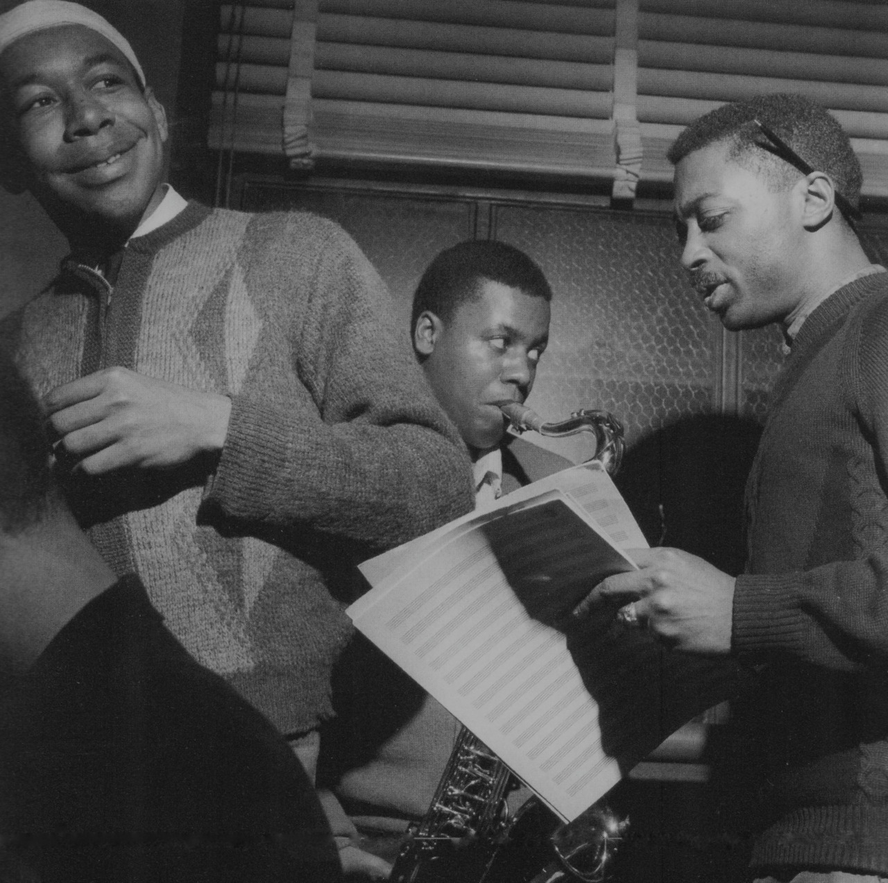 bainer:  [l to r] Lee Morgan, Wayne Shorter, and Curtis Fuller during Art Blakey's Indestructible session, Englewood Cliffs NJ, May 15 1964 (photo by Francis Wolff)