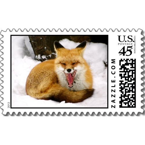 Red fox stamps.  They're completely legal to use as postage stamps, but you can also use them as pricey stickers.  Either way works, really. More foxes | More stamps | Squiggles and Squirrels shop