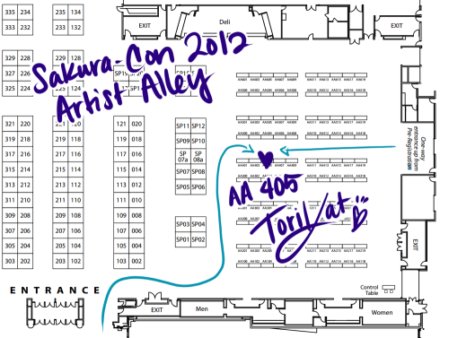 It's almost time!  Sakura-Con from April 6-8 at Seattle, WA!  I have a table at AA 405 with NerdyMind.  Please, come by and say hi if you're there!  :D Also, if you have any requests for keychains or prints, throw some ideas out there!  xD