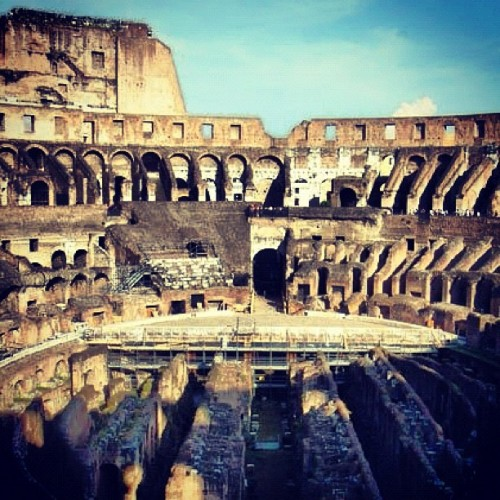 There's a perpetual heavy feeling when one's here #colosseum #travel #rome #italy #europe #wanderlust  (Taken with instagram)