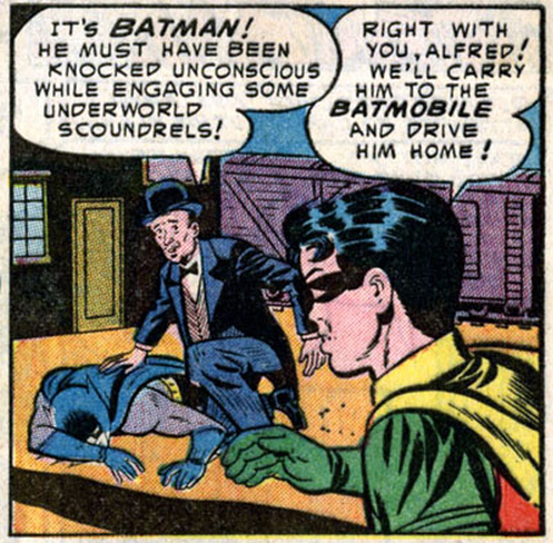 (via Bully Says: Comics Oughta Be Fun!)  Panel from Batman v.1 #83 (April 1954), script by David Vern, pencils by Sheldon Moldoff, inks by Bill Elder (?), letters by Pat Gordon  [he's drunk…]