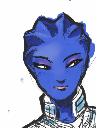 Liara As I drew Miranda when I first got Sketchbook for iPhone, I thought it'd be appropriate to keep a similar theme for Sketchbook for iPad.