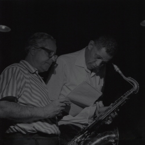 Alfred Lion and Dexter Gordon during Gordon's Clubhouse session, Englewood Cliffs NJ, May 27 1965 (photo by Francis Wolff)