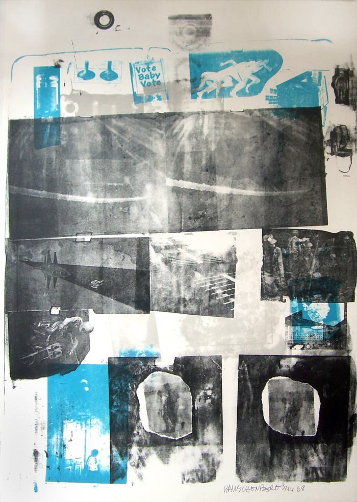"Robert Rauschenberg, Guardian, 1968. Lithograph with embossing. ""VOTE BABY VOTE""! Happy Election Day!"