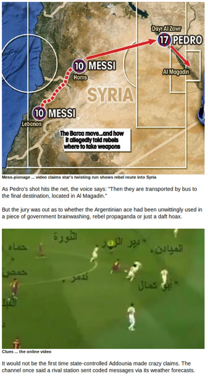 Riddle of Barca star Lionel Messi's 'secret onfield signals to Syria rebels' | The Sun |NewsWTF OF THE DAY: Riddle of Barca star Lionel Messi's 'secret onfield signals to Syria rebels' | The Sun |News