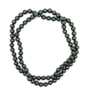 Knotted gemstone bead fashion necklace 36-inches long (metalic hematite gemstone) perfect gift!