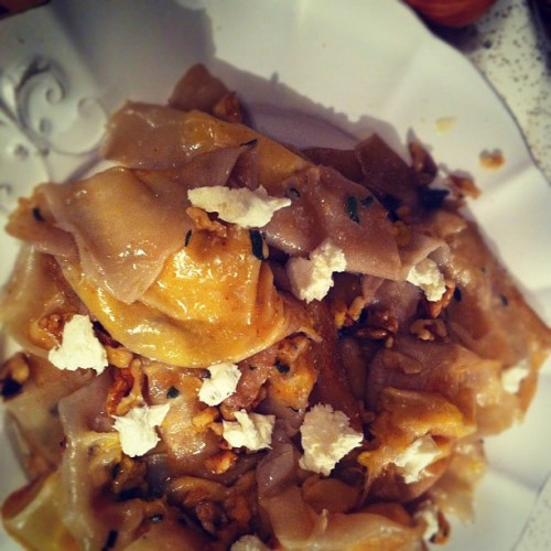 #homemade #vegetarian #butternut #squash #ravioli #walnut #dinner (Taken with instagram)
