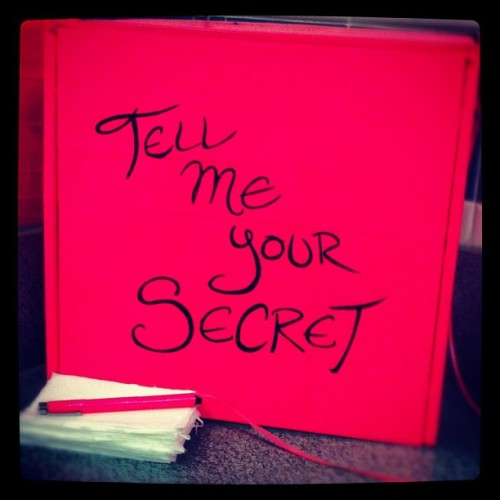 This is on the girls washroom in the main mall. Go write your secrets! #Art #Acad (Taken with Instagram at Alberta College of Art & Design)