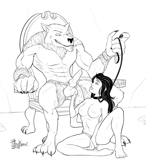 Lineart commission for Sullust2, of a werewolf enjoying the company of his slave! Big ol' wolf dudes are equal parts irksome and wondrous to draw *ω*(Also a big shout out to Hizzacked for pointing me in the direction of a kickass perspective grid, which I promptly failed to use in anywhere near an effective manner =T damn you, the distance, you are a wiley foe!)