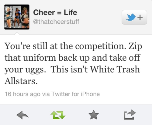 cheer-tator:  cheer-swagg:  ecrfury-cheer:  itsacheerleaderslife:  (via imgTumble)  Guilty  hahah seriously  whoa idk about you but when im at a 9 hour comp. and competed twice which was seperated a few hours, i like to be comfortable.. so you can sit there all pretty if you want. Im bouta unzip this uni , throw on these uggs and take a nap. Wake me up for the damn awards. #done  No but seriously some girls take their skirts off and wear their uniform top with yoga pants and Uggs… like no. Please don't. NO ONE at my gym does that, we all keep our uniforms on throughout the day. At the most we'll put our warm ups over top but that's it.