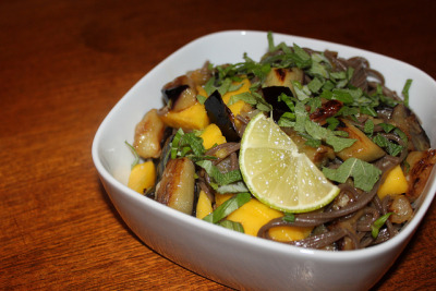Soba noodles with eggplant and mango by efhgcvno on Flickr.yum