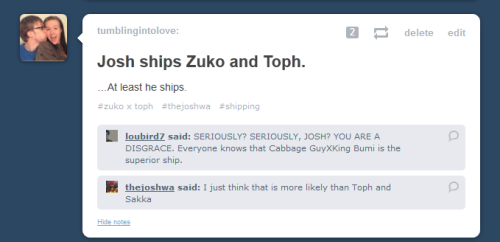 tumblingintolove:  Zuko-shipping in this order: Honor Katara Awkwardness Aang Mai Sokka Laura: Have you seen Legend of Korra? There's a scene where I thought of you.  I DID!! SO GOOD. OH GOD. I CANNOT. Which scene was this?