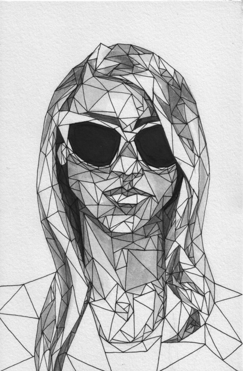 Geometric Portrait - Girl 02  //  Allison Kunath  India Ink + Pen  //  6x9""