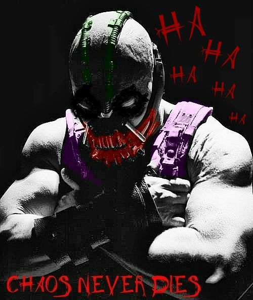 fuckyeahthedarkknightrises:  The Joker to Bane— Chaos Never Dies!