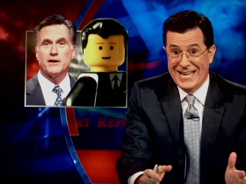 "inothernews:  ""Mitt Romney is like a Lego man: he's only got one facial expression — and his hair snaps on.""  —STEPHEN COLBERT, The Colbert Report"