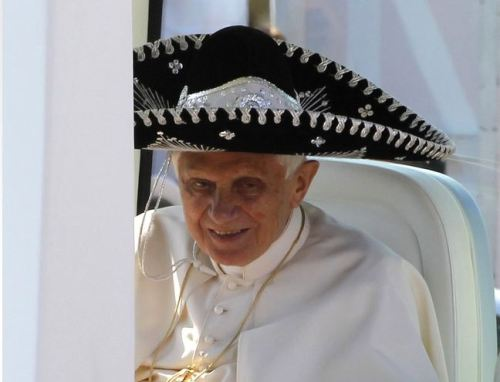 "Pope Benedict wears a sombrero on Central American tour First Mexico, then Cuba: Pope Benedict was well-received in Mexico, where almost 350,000 people attended his Sunday Mass. But Cuba's a bit of a challenge: Focusing less on his mass appeal there, the Pope hopes to use his trip to unite the world's Catholic countries with those considered to be less Catholic. And Cuba, which until recently was an officially atheist nation, is certainly ""less Catholic."" Smaller crowds were expected to attend his services in Cuba — despite the government providing transportation and a paid day off of work. Pope Benedict said last week that he hopes the people of Cuba can move away from Marxism to ""find new models, with patience, and in a constructive way."" Hopefully he helps them along while wearing funny hats. source Follow ShortFormBlog"