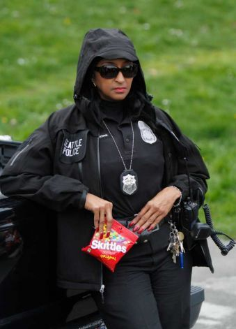 Seattle Police Department Detective D. Cookie Bouldin protests the shooting death of unarmed Florida teenager Trayvon Martin. Photo: JOE DYER / SEATTLEPI.COM