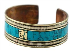 #Tibetan #Turquoise Plated #Gold #Om #Bracelet - $28.00Retail Price: $38.00You Save: $10.00