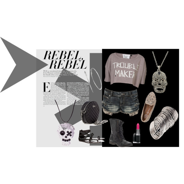 Rebel, Rebel by ghi85 featuring hoop earringsTopshop t shirt, $40Crafted short shorts, £30Jeffrey Campbell studded loafer, $165Ash strappy flat sandals, £65Steve Madden flat leather boots, $100D G black leather shoulder bag, $399Skull necklace, $10Apt. 9 hoop earrings, $8.80Silver necklace, £7.99H M bracelet, £3.99