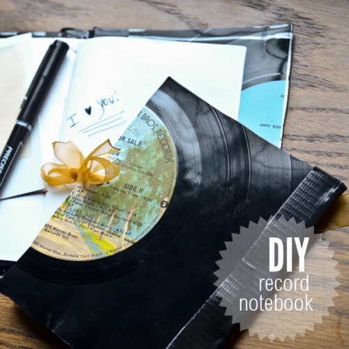 DIY Vinyl Record Notebook. I always looked at these record projects and thought they must be too much work. But they aren't! If you can sit through a short 3 minute 21 second really well done how-to video, you will see how easy it is to bend scratched, unplayable records into whatever you want. Tutorial and video by stars for streetlights here. *For more record ideas go here: truebluemeandyou.tumblr.com/tagged/record