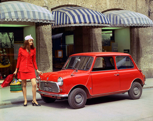 Mini, manufactured by British Motor Corporation, 1970, based on an original design by Alec Issigonis, 1959  via