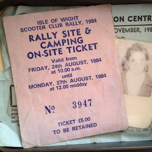 the Isle of Wight, Scooter Club Rally 1984. Mum's ticket. (Taken with instagram)