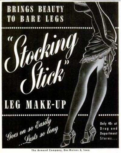 1945 Wartime Stocking Stick Leg Makeup Advertisement