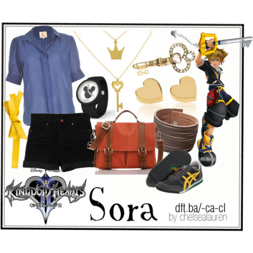 Sora | Kingdom Hearts 2 by chelsealauren10 featuring a blue collar shirt   MiH Jeans blue collar shirt, $195Monki vintage shorts, €25Lightweight shoes, $52Satchel bag, $218Alex and Chloe heart shaped stud earrings, $90Leather bangle, $50Disney jewelry, £35Rhinestone jewelry, $15InfoJoia - O Portal de Notícias do IBGM
