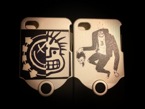 "Got some custom iPhone cases made up at cafepress.com  The one on the right is something my friend Zach (zombiezach.tumblr.com) drew up for me. It's inspired by ""a gentleman's sport"" by every time I die. It's my favorite song of theirs."