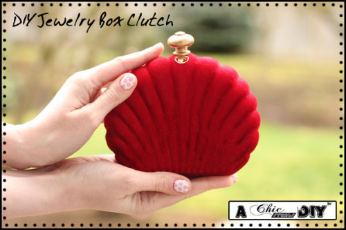 DIY Jewelry Box Clutch. Do you have any of those jewelry boxes that snap shut? Remember all the knockoff Alexander McQueen DIY clutches made out of sunglasses cases here and here? This is the same idea but with a clever cheap and lightweight solution for the clasp. Tutorial from Chic Steals here.