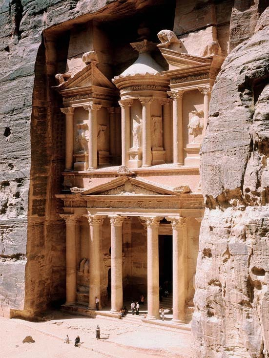 "historicaldetailsandstuff:  Al-Khazneh (""Treasury""), Petra, Jordan, second century AD. This rock-cut tomb facade is a prime example of Roman ""baroque"" architecture. The designer used Greek architectural elements in a purely ornamental fashion and with a studied disregard for Classical rules."
