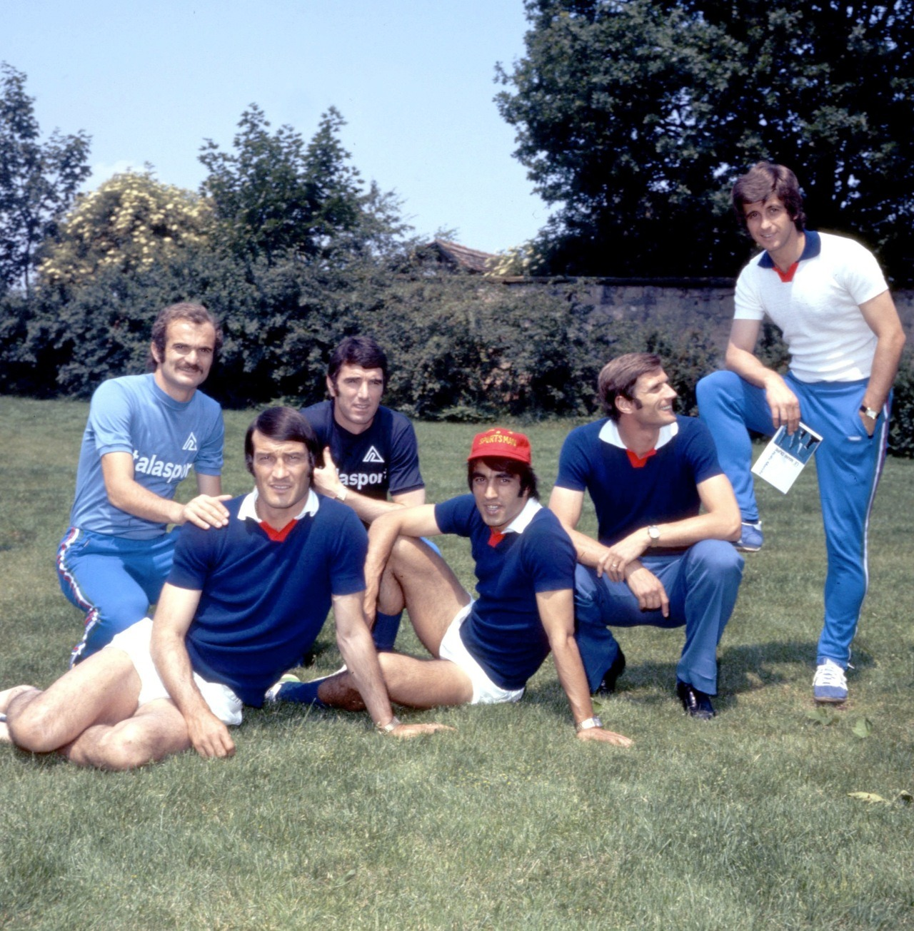 Mazzola, Albertosi, Zoff, Anastasi, Facchetti and Rivera, relaxing during World Cup 1974.