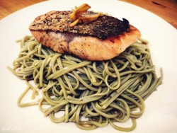thislifeisforreal:  Pan-fried Salmon with Matcha Soba Usually when you talk about student life, you hear a lot of horror stories about our diets: it's either really unhealthy or tastes like cardboard. Or, we don't eat at all! (It's true; a friend of mine survived a whole weekend on coffee and Red Bull) When I got my own place with a decent sized kitchen (a miracle in central London), I said, no thank you! I have a budget; but sometimes I like to splurge a little on healthier foods. And this is ridiculously easy to make; perfect for coursework week when my schedule is packed and I need an Omega-3 fatty acid boost for the brain!