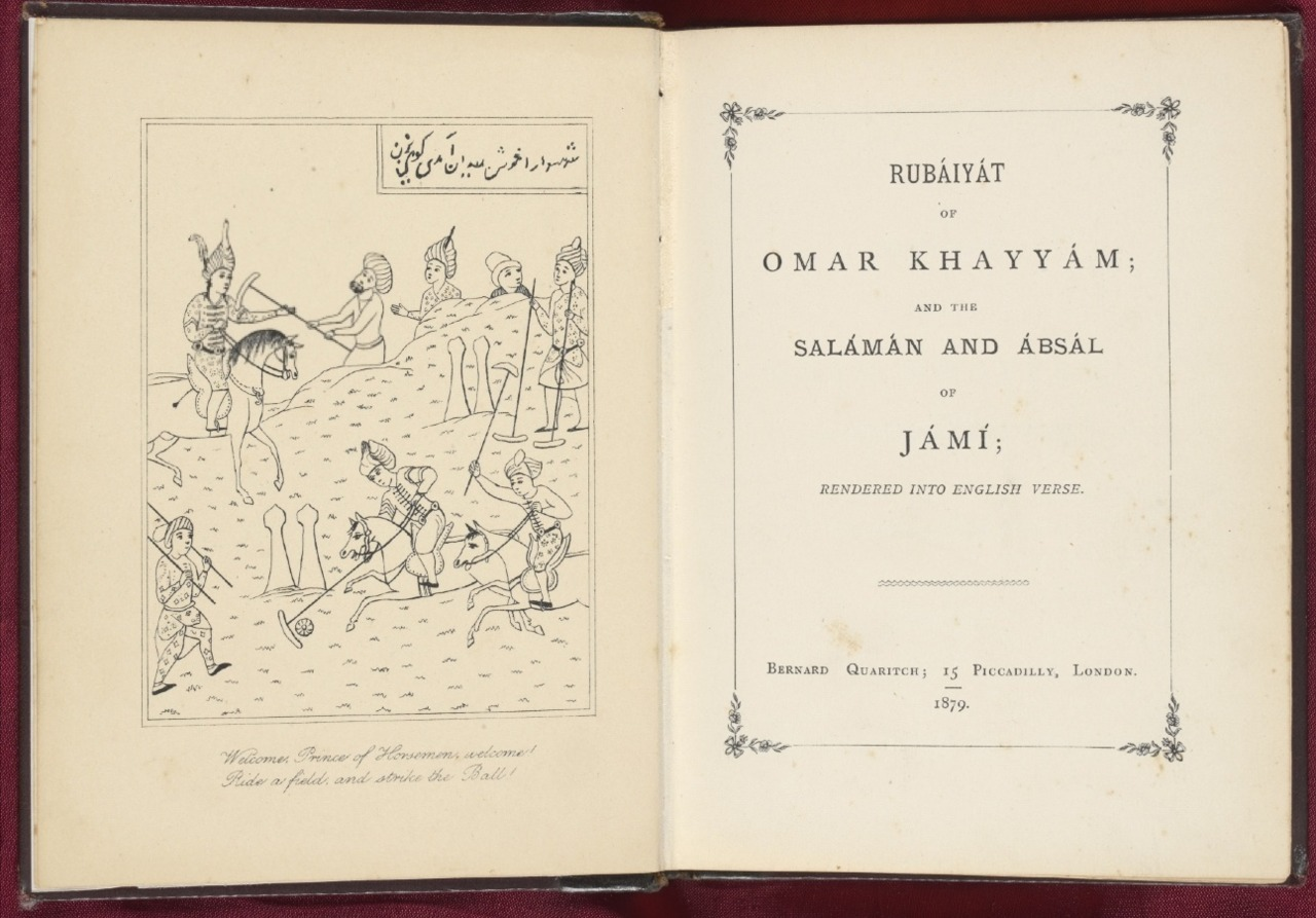 Rubaiyat - title page       From Edward FitzGerald's Rubáiyát of Omar Khayyám, London, Bernard Quaritch, 1879, 4th edition