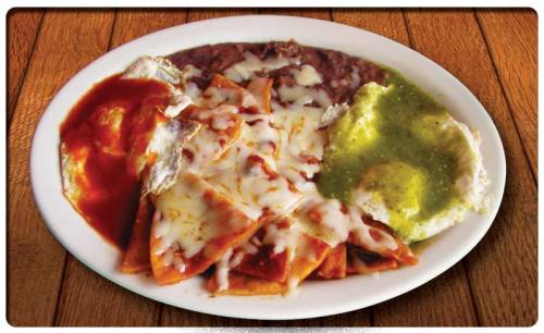 mexicanfoodporn:  Buenos Pinches Días!  Huevos Divorciados con chilaquiles!  Good Fucking Morning!  'Divorced eggs' with chilaquiles