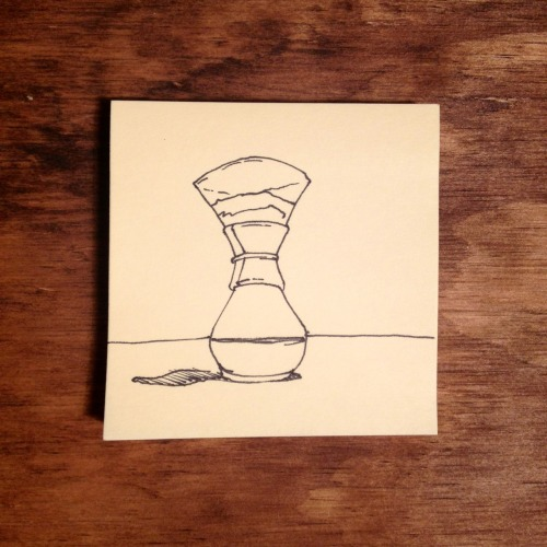 30days-30pages:  Day 3 Chemex Pen on Post-It–Joshua Fortuna