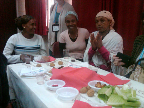 Ethiopian immigrants enjoying their first Passover Seder at an Israeli Absorbtion Center.