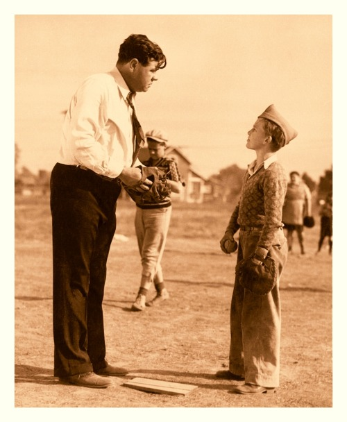 "1932 Play Ball With Babe Ruth: ""Slide, Babe, Slide"" Pt.4Universal Pictures Production Still (unnumbered) Here's the fourth edit originating from the Universal Pictures ""Play Ball With Babe Ruth"" short-film series. Looks like Babe is imparting some pitching advice in this one."